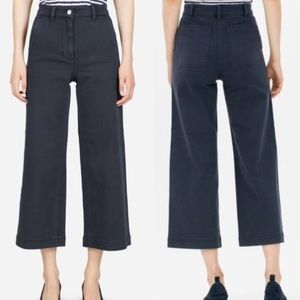 Everlane High Rise Wide Leg Crop Dark Blue Pants